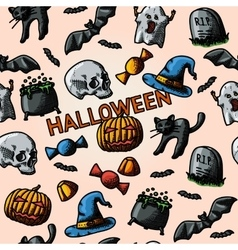 HALLOWEEN handdrawn pattern with pumpkin witch vector image