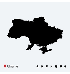 High detailed map of Ukraine with navigation pins vector image