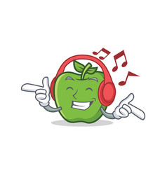 Listening music green apple character cartoon vector