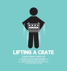 Man lifting a crate symbol vector