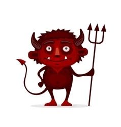 Red halloween devil with trident in cartoon style vector