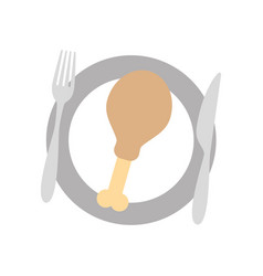 restaurant fried chicken food with dish and fork vector image vector image
