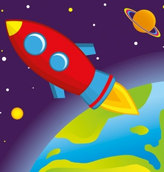 rocket flies into space vector image vector image