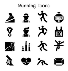 running icon set graphic design vector image