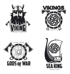 Scandinavian Viking set of logos vector image