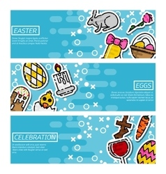 Set of horizontal banners about easter vector