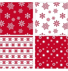 Set of red seamless snowflake pattern vector