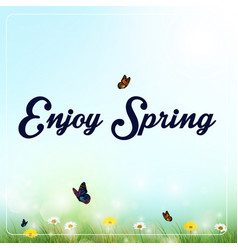spring background with flowers and butterflies vector image vector image