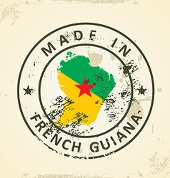 Stamp with map flag of french guiana vector