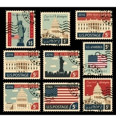 Stamps with united states of america landmarks vector