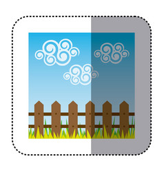 sticker colorful landscape with wood grate and vector image