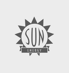 Sun energy logo label design concept with sun and vector