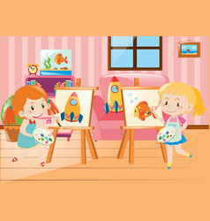Two girls drawing on canvas in room vector