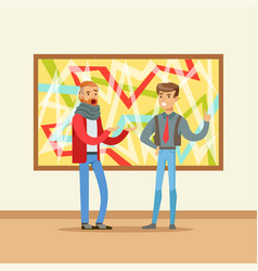 Two men standing in modern art gallery and vector