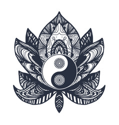 Vintage yin and yang in lotus vector