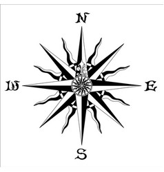 Wind rose black white vector
