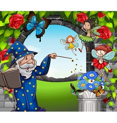 Wizard and fairies flying in garden vector