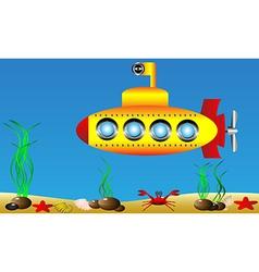 Yellow submarine under water vector