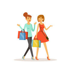 young happy women walking with shopping bags girl vector image