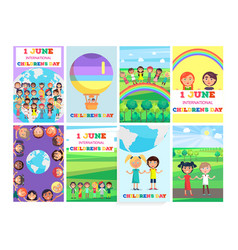 1 june holiday template with colorful posters set vector image
