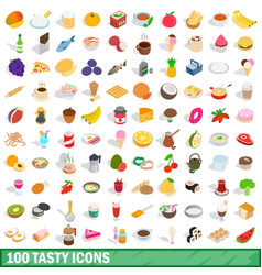 100 tasty icons set isometric 3d style vector image