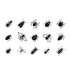 Pests and various insects set icons vector