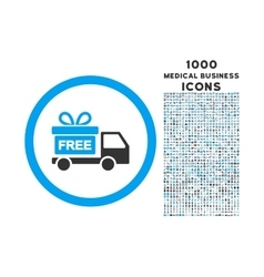 Gift delivery rounded icon with 1000 bonus icons vector