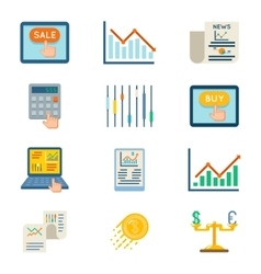 Stock flat icons exchange signs and finance vector
