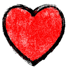 Texture red heart with black contour vector