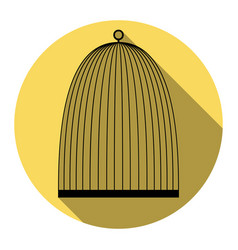 Bird cage sign  flat black icon with flat vector