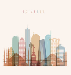 Istanbul skyline detailed silhouette vector