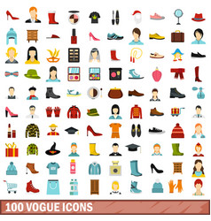 100 vogue icons set flat style vector