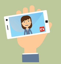Business woman taking selfie photo on smart phone vector