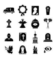 Funeral ritual service icons set simple style vector