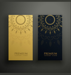 luxury mandala card design in gold and black color vector image