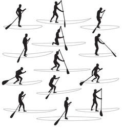 Paddle boarding silhouettes vector