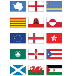Flag set of world continents and misc countries vector