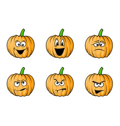 Halloween face pumpkins vector