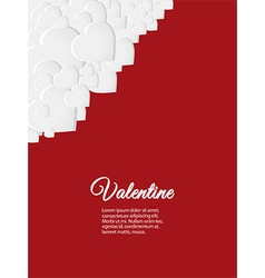 Valentine red card with white hearts vector