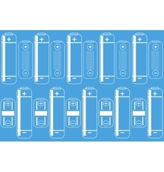 Battery outlines icon on a blue colored background vector