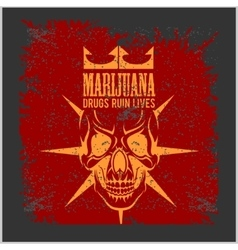 Marijuana skull on grunge background for vector