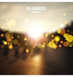 Blurred city street landscape with bokeh lights vector