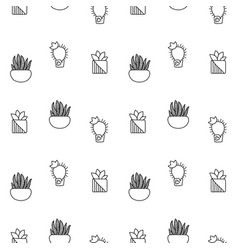 Black and white outlined cactus seamless vector
