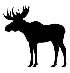 Black silhouette moose with horns vector