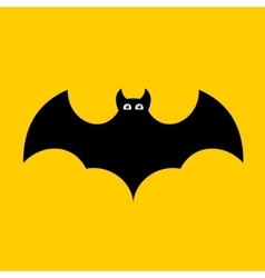 Cartoon bat on orange background flat design vector