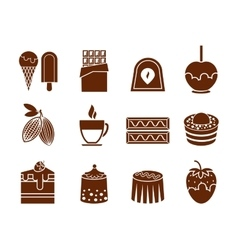 Chocolate and candy icons set vector image