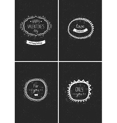 Collection vintage love greeting cards vector image vector image