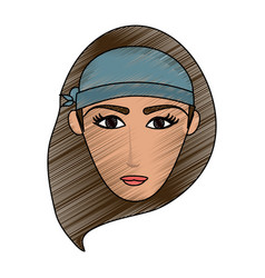 Color pencil cartoon front face woman with hat vector