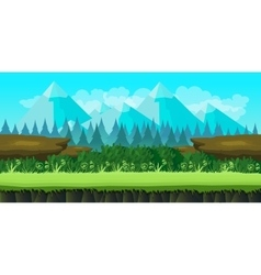 cute game background of mountains and grass vector image vector image
