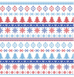 Dark and light blue and red christmas pattern vector